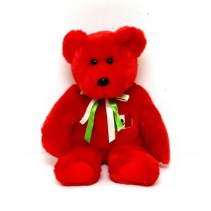Ty Beanie Baby Osito Bear Red Mexican Flag Plush